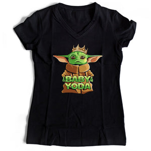 Star Wars The King Of Baby Yoda Women's V-Neck Tee T-Shirt