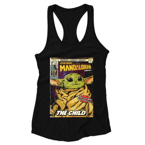 Star Wars The Mandalorian Comic Cover Woman's Racerback Tank Top