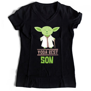 Star Wars Yoda Best Son Women's V-Neck Tee T-Shirt