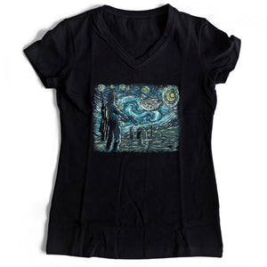 Starry Wars Starry Night Star Wars Women's V-Neck Tee T-Shirt
