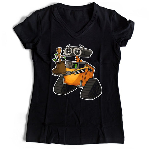 Walle And Groot Women's V-Neck Tee T-Shirt