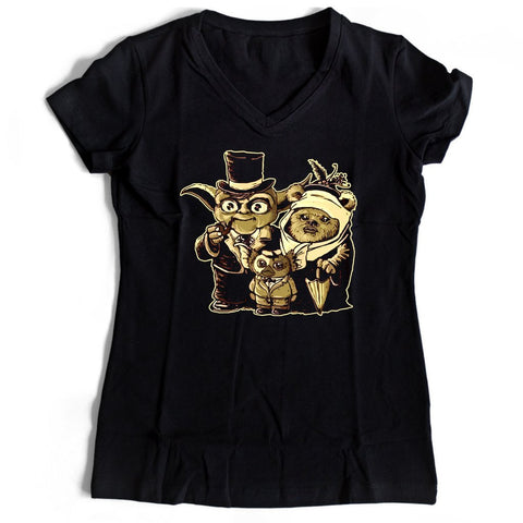 Yoda Married Ewok Women's V-Neck Tee T-Shirt