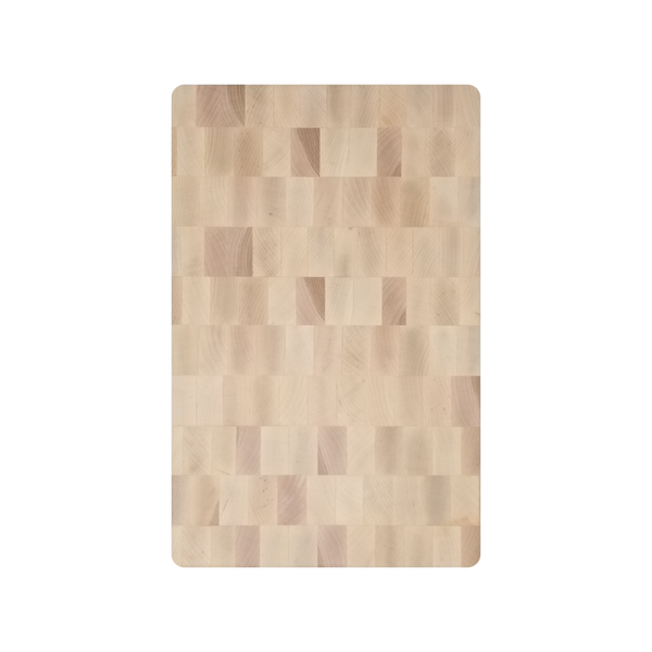 Maple End Grain Cutting Board With Carved Handles