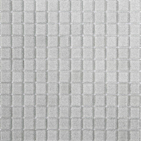 Silver Glitter Glass Mosaic Tiles Sheet (MT0073)
