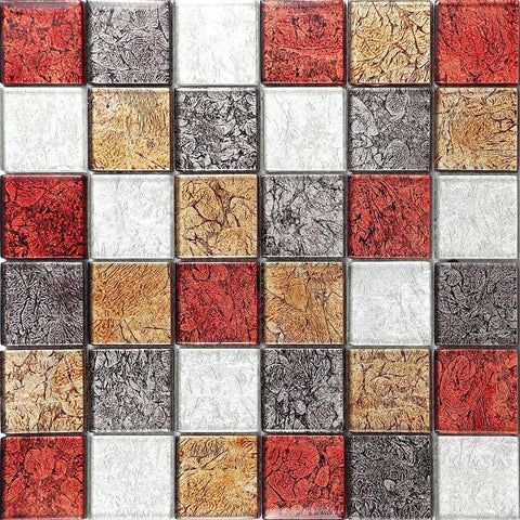 Autumn Foil Mix Glass Mosaic Tiles Sheet (MT0072)
