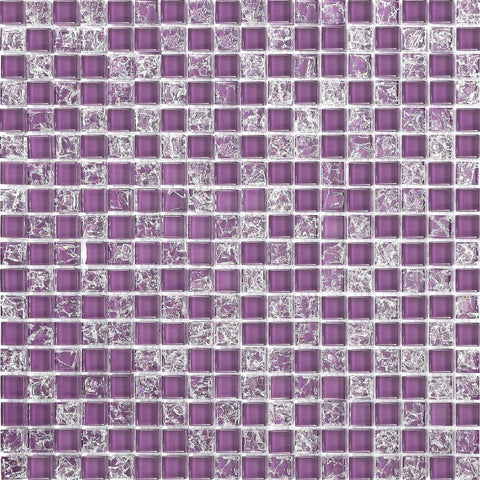 Crackle & Plain Purple Glass Mosaic Tiles Sheet (MT0070)