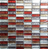 Autumn Foil Backed Glass Brick Mosaic Tiles Sheet (MT0006)
