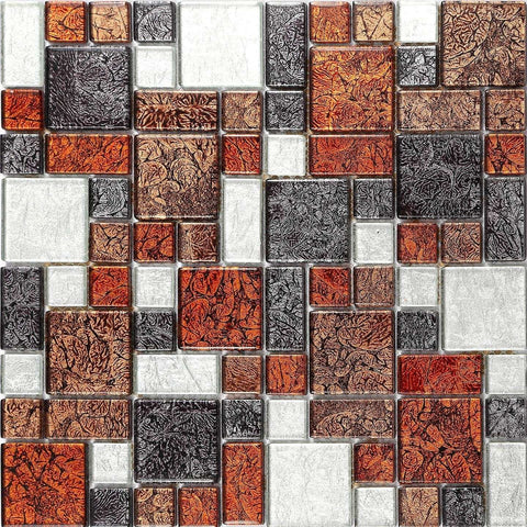 Autumn Foil Modular Mix Glass Mosaic Tiles Sheet (MT0064)