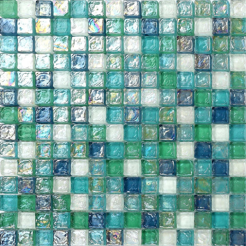Green Blue & White Hammered Swirl Glass Mosaic Tiles Sheet (MT0052)