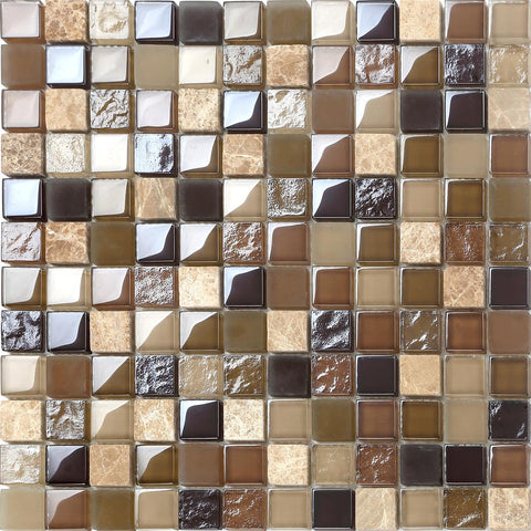 Brown Shades Frosted Hammered & Smooth Glass and Stone Mix Mosaic Tiles Sheet (MT0050)
