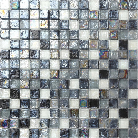 Black & Grey Shades Hammered Swirl Glass Mosaic Wall Tiles Sheet (MT0051)