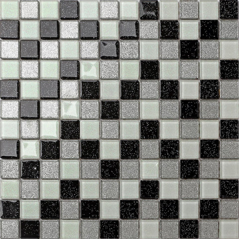 Black Silver White Glass With Glitter Tiles Sheet (MT0029)