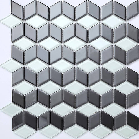 Black & White 3D Cubes Glass Mosaic Tiles Sheet (MT0083)