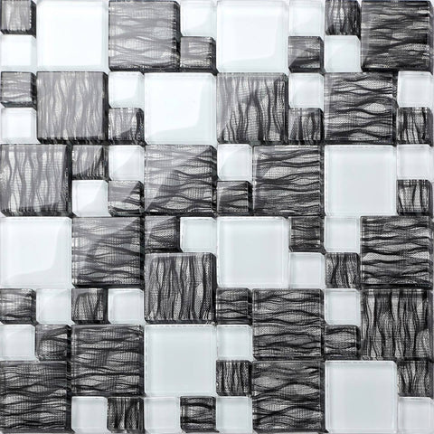 Black With Silver Backing & White Modular Mix Mosaic Tiles Sheet (MT0077)