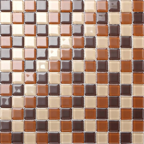 Beige & Brown Glass Mosaic Tiles Sheet (MT0082)