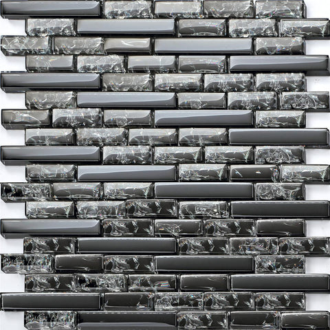 Stunning Black Crackle and Plain Glass Mosaic Wall Tile Sheet (MT0074)
