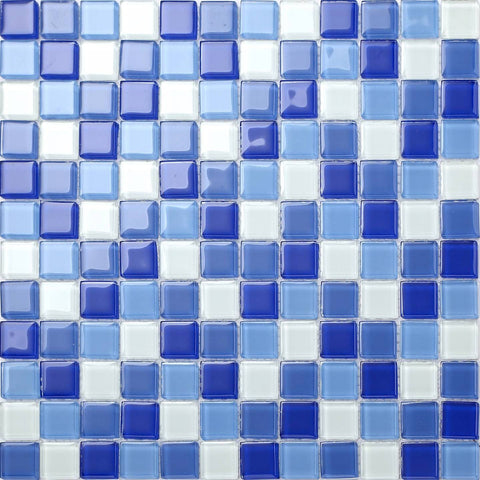 Blue & White Glass Mosaic Tiles Sheet (MT0081)