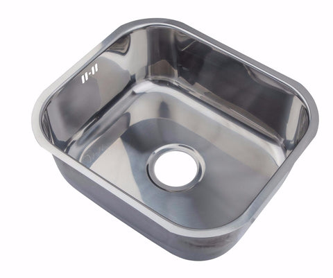 465 x 410mm Undermount Polished Stainless Steel Single Bowl Kitchen Sink (A15)
