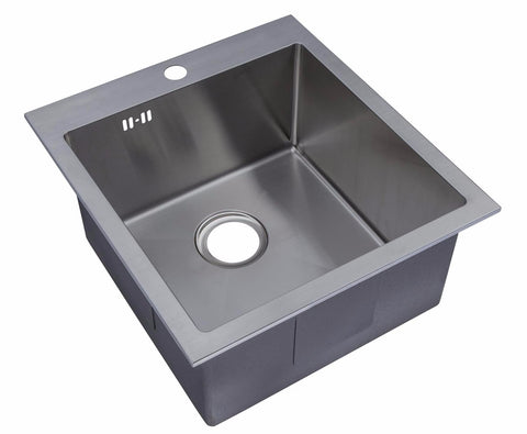 460 x 500mm Inset Single Bowl Handmade Stainless Steel Kitchen Sink with Pre-punched Tap Hole and Easy Clean Corners (DS024-1)