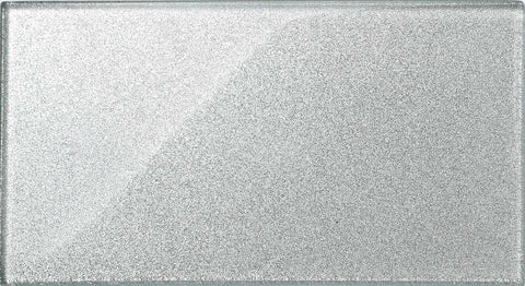 Silver Glitter Glass Metro Tile (MT0075)