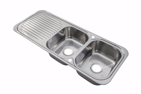1180 x 480mm Polished Inset Reversible 2.0 Bowl Stainless Steel Kitchen Sink & Drainer (E10)