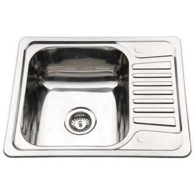 580 x 480mm Polished Inset Reversible Stainless Steel Kitchen Sink with Drainer (B58)