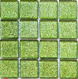 Green Glitter Glass Mosaic Tiles Sheet (MT0020)