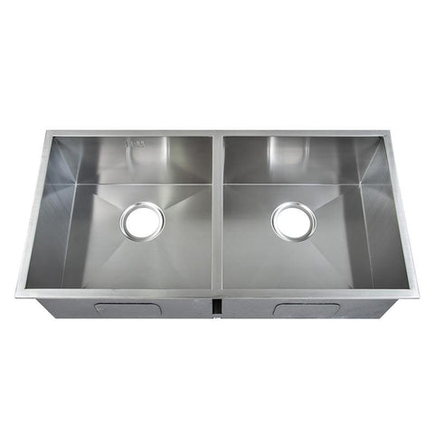 865 x 440mm Inset Double Bowl Handmade Stainless Steel Kitchen Sink (DS014)