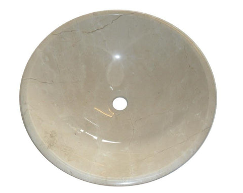Round Crema Marfil Stone Counter Top Basin in 3 Sizes (B0069, B0070, B0071)