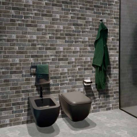 Argille Cenere Slip Brick Interlocking Porcelain Wall Tile