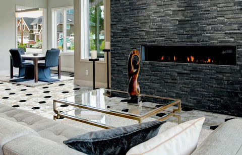 Marmi Black Split Face Interlocking Porcelain Wall Tile