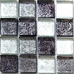 Black And Silver Glass Mosaic Tiles Sheet (MT0004)