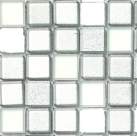 Sample of Silver Mirror Frosted Glitter Mix Glass Mosaic Tiles Sheet (MT0046)
