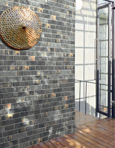 Slate Black Slip Brick Interlocking Porcelain Wall Tile