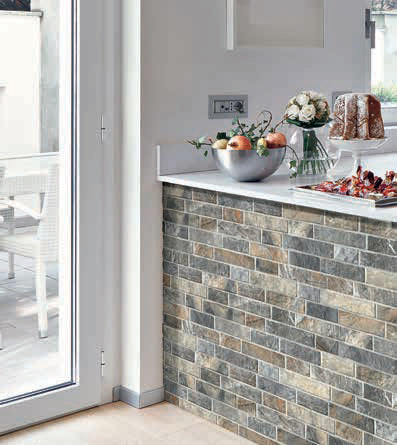 Slate Grey Slip Brick Interlocking Porcelain Wall Tile