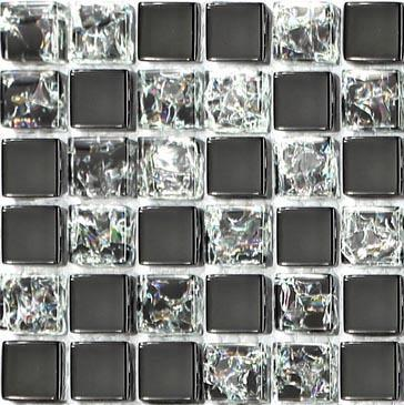 Sample of Black Crackle And Plain Glass Mosaic Tiles Sheet (MT0043)
