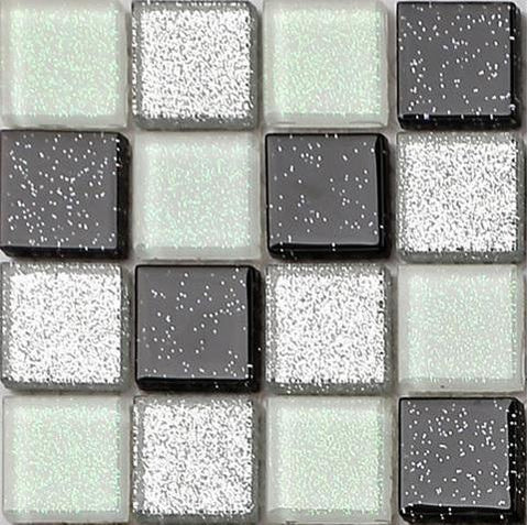 Sample of Black Silver White Glass With Glitter Tiles Sheet (MT0029)