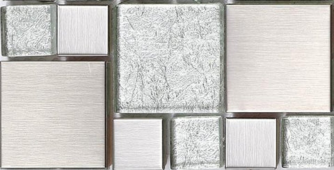Sample of Silver Brushed Stainless Steel & Silver Asian Pattern Modular Mix Mosaic Tiles Sheet (MT0048)