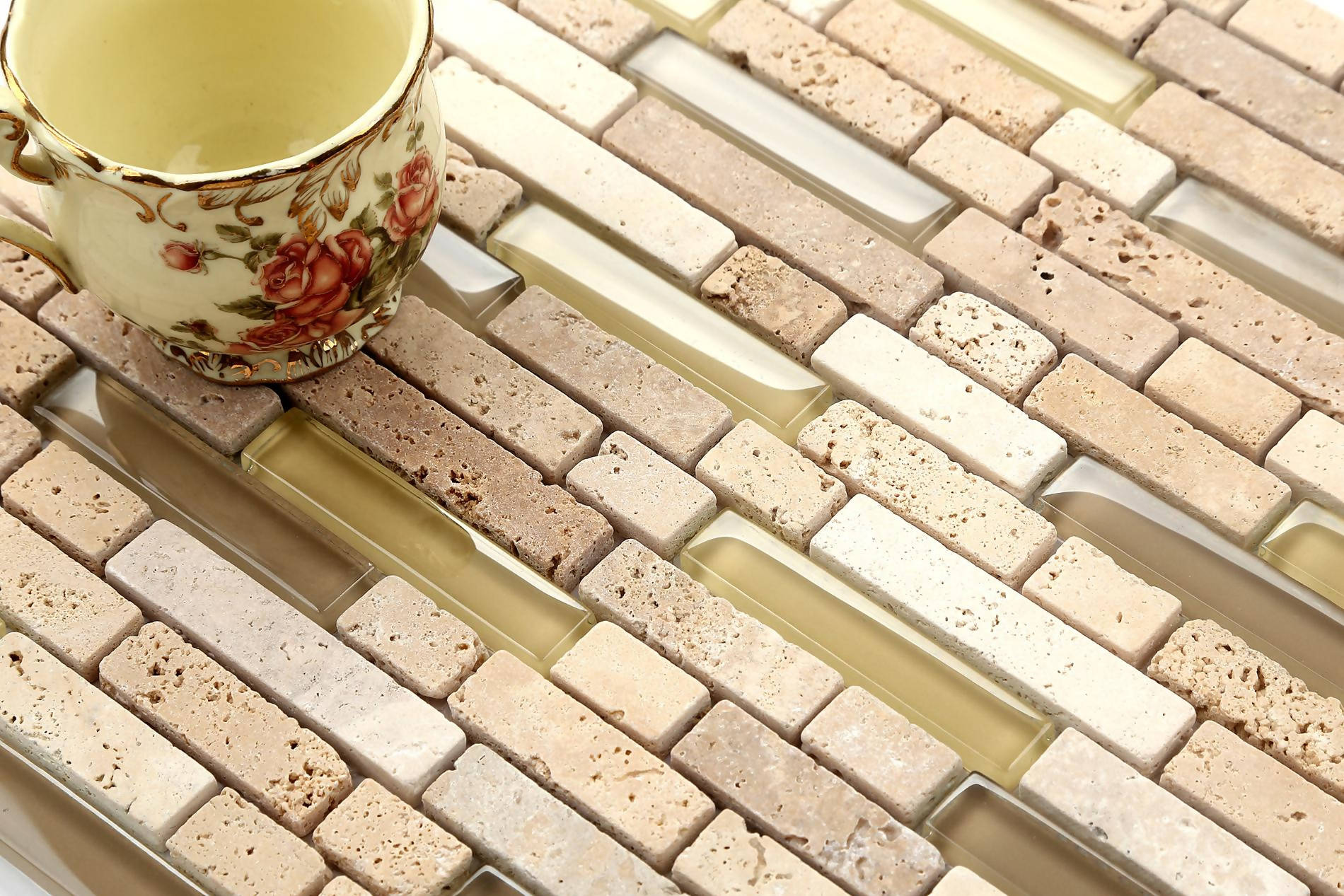 Natural Earth Glass & Stone Brick Shape Mosaic Tiles (MT0001)