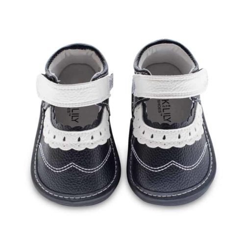 A top-down view of Jack and Lily's Lucy children's barefoot shoe in black