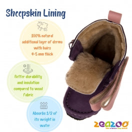 Inside photo of zeazoo yeti minimalist snow boots for kids sheepskin lining