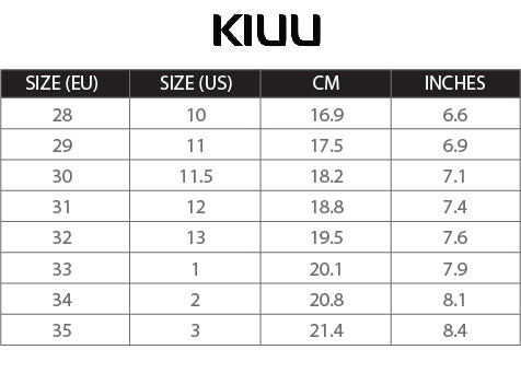 Photo of KIUU Calisto size chart with US sizing