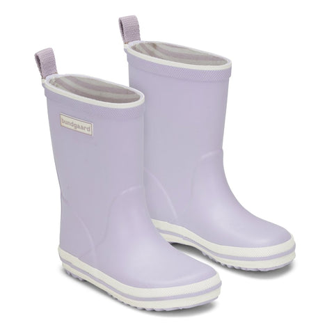 Photo of Bundgaard Rubber boots in Lavender Purple. Minimalist zero-drop boots for kids