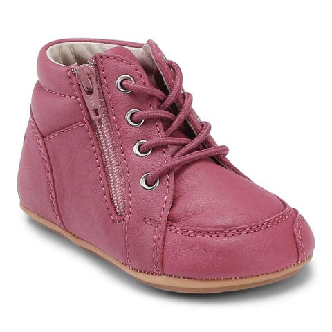 A side view of a pink Prewalker Lace II children's barefoot shoes