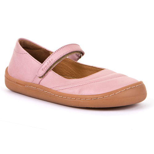 Photo of a pink Froddo barefoot mary jane. Natural healthy minimalist shoes for kids