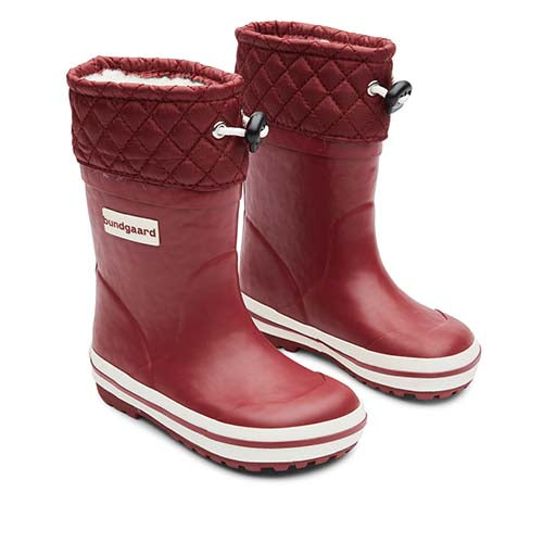 A photo of a a pair of Bundgaard Minimalist Rubber Sailor Waterproof Boot for kids single boot in Bordeaux