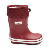 A side profile photo of Photo of Bundgaard Minimalist Rubber Sailor Waterproof Boot for kids single boot in Bordeaux