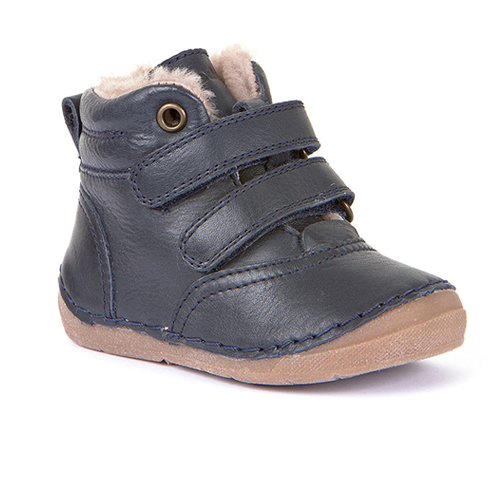A side view of dark blue Froddo boot toddler minimalist boot barefoot boot