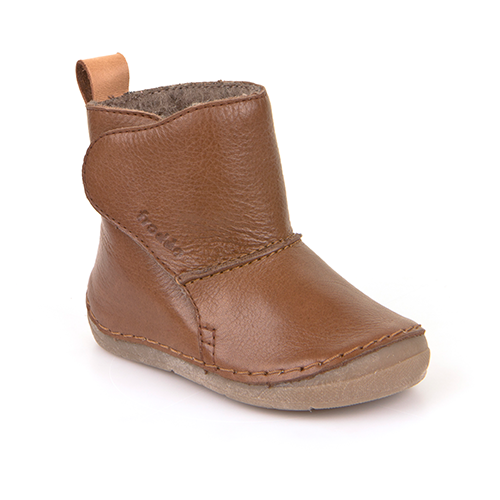 A top view of Froddo children's minimalist boot with wool kids barefoot boot in brown