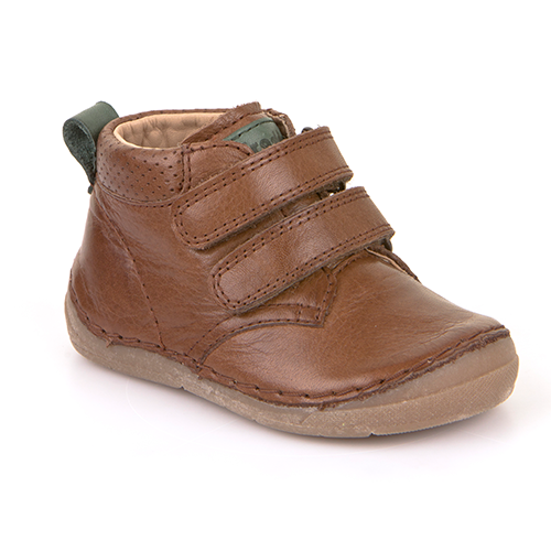 A top view of Froddo children's minimalist shoe healthy kid shoes in brown